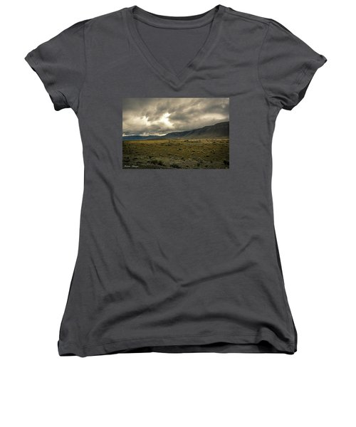 Women's V-Neck T-Shirt (Junior Cut) featuring the photograph Golden Storm by Andrew Matwijec