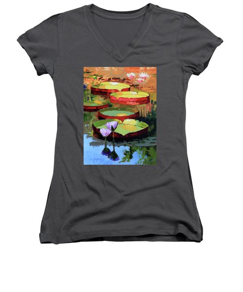 Golden Sunlight Reflections Women's V-Neck T-Shirt