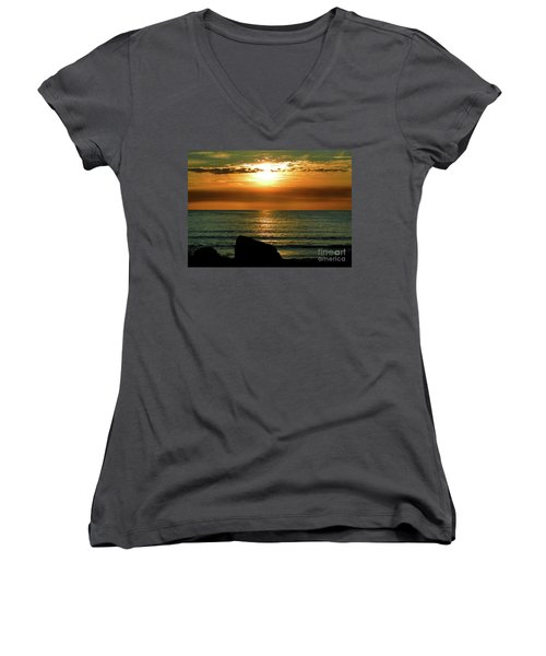 Women's V-Neck T-Shirt (Junior Cut) featuring the photograph Golden Sunset At The Beach IIi by Mariola Bitner
