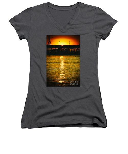 Women's V-Neck T-Shirt (Junior Cut) featuring the photograph Golden Sunset Behind Bridge by Mariola Bitner
