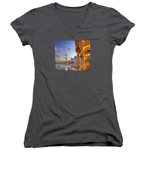 Women's V-Neck T-Shirt (Junior Cut) featuring the photograph Golden Temple by John Swartz