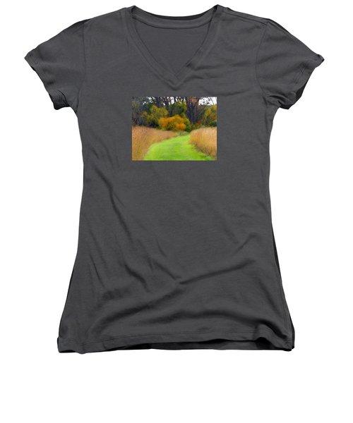 Golden Trail Women's V-Neck T-Shirt (Junior Cut) by Cedric Hampton
