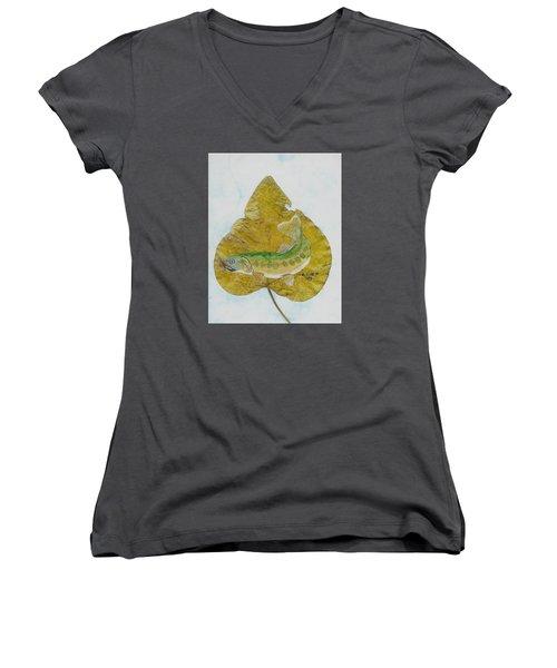 Golden Trout Women's V-Neck T-Shirt (Junior Cut) by Ralph Root