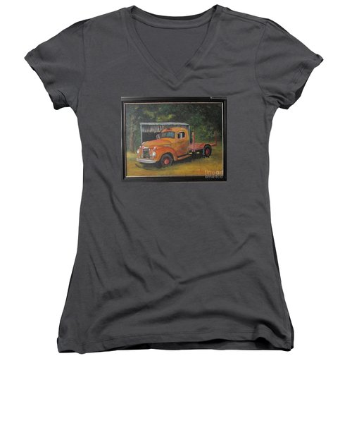 Golden Truck  Women's V-Neck T-Shirt (Junior Cut)