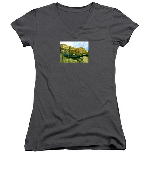 Women's V-Neck T-Shirt featuring the photograph Golden Venice by Anne Kotan