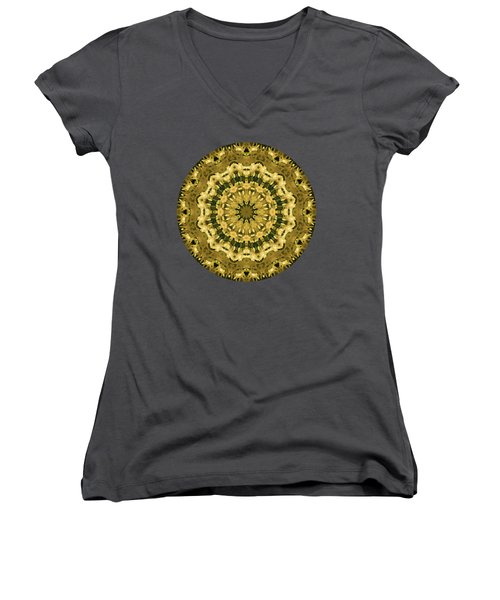 Goldenrod Mandala -  Women's V-Neck (Athletic Fit)