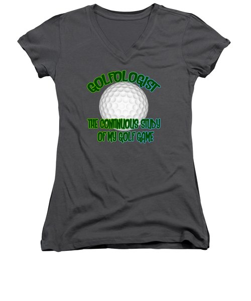 Golfologist Women's V-Neck T-Shirt (Junior Cut) by David G Paul