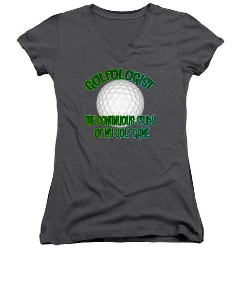 Golfologist Women's V-Neck T-Shirt (Junior Cut) by David G Paul