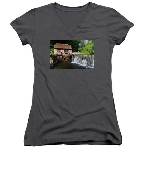 Gomez Mill In Spring #1 Women's V-Neck T-Shirt (Junior Cut) by Jeff Severson