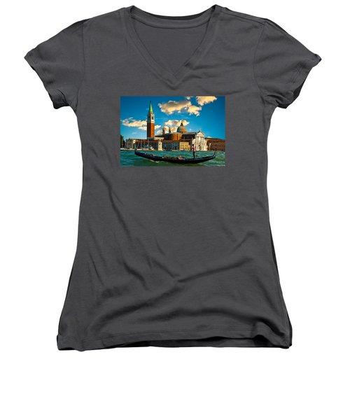 Gondola And San Giorgio Maggiore Women's V-Neck T-Shirt
