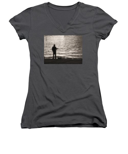 Women's V-Neck T-Shirt (Junior Cut) featuring the photograph Gone Fishing by Mark Alan Perry