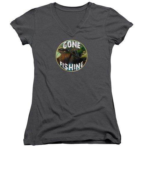 Gone Fishing Women's V-Neck T-Shirt (Junior Cut) by Mim White