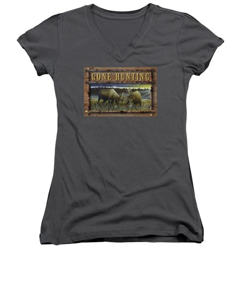 Gone Hunting - Locked At Lac Seul Women's V-Neck
