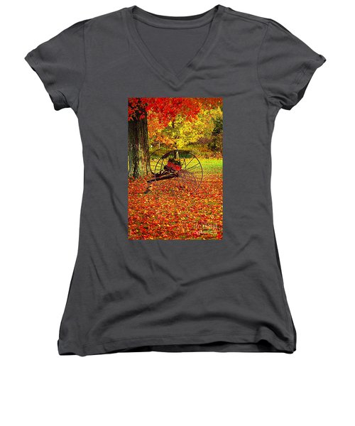 Gone With The Wind Women's V-Neck T-Shirt (Junior Cut) by Diane E Berry