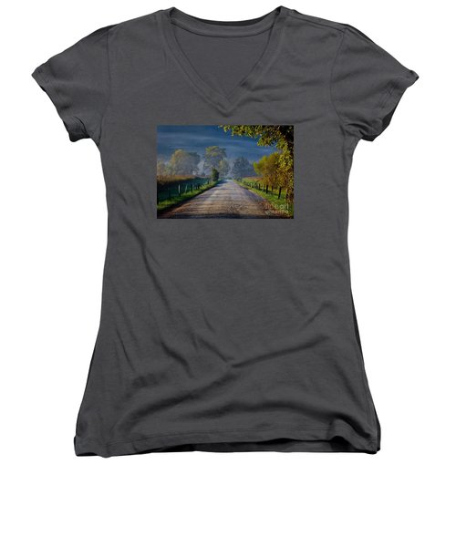 Good Morning Cades Cove 3 Women's V-Neck (Athletic Fit)
