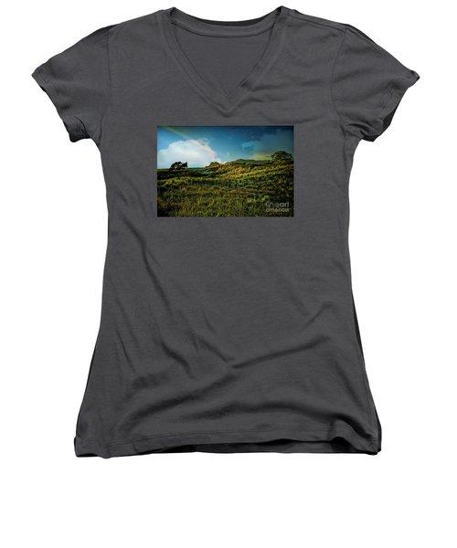 Good Morning Medlands Women's V-Neck T-Shirt (Junior Cut) by Karen Lewis