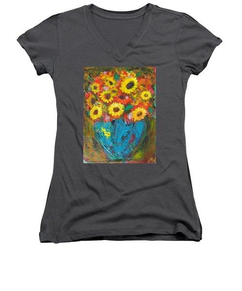 Good Morning Sunshine Women's V-Neck T-Shirt (Junior Cut) by Maria Watt