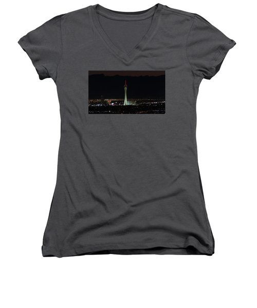 Women's V-Neck T-Shirt (Junior Cut) featuring the photograph Good Night by Michael Rogers