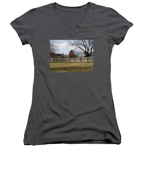 Women's V-Neck T-Shirt (Junior Cut) featuring the photograph Good Old Barn by Donald C Morgan