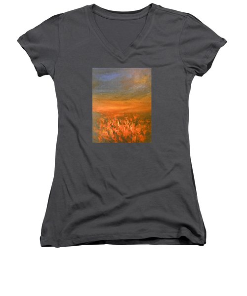 Women's V-Neck T-Shirt (Junior Cut) featuring the painting Goodbye by Jane See