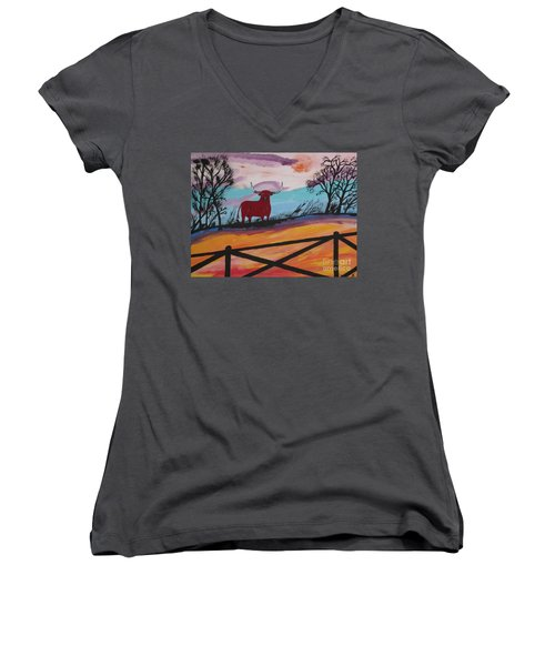 Women's V-Neck T-Shirt (Junior Cut) featuring the painting Goodbye My Lover by Jeffrey Koss