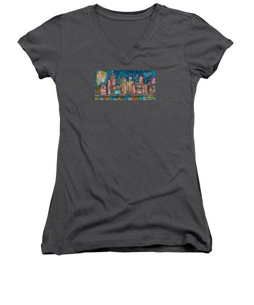 Goodnight Nashville Women's V-Neck T-Shirt (Junior Cut) by Kirsten Reed