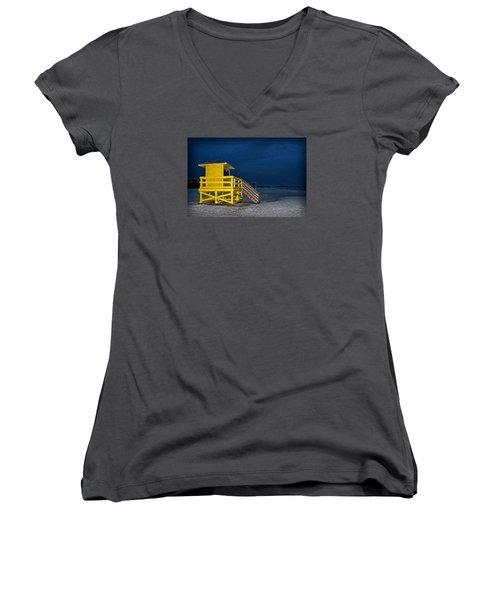 Goodnight Siesta Key Women's V-Neck T-Shirt (Junior Cut) by DJ Florek