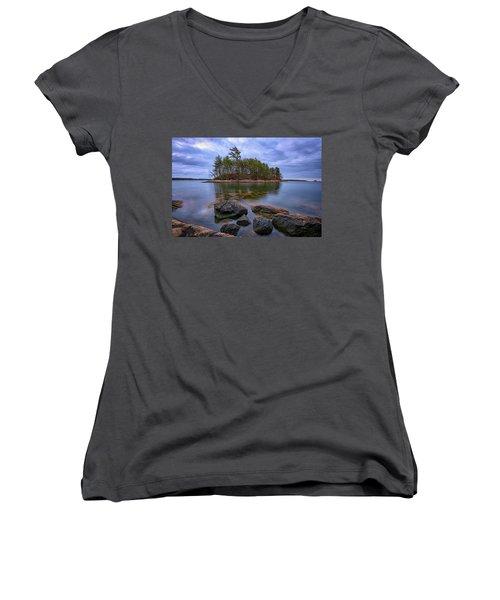 Women's V-Neck T-Shirt (Junior Cut) featuring the photograph Googins Island by Rick Berk