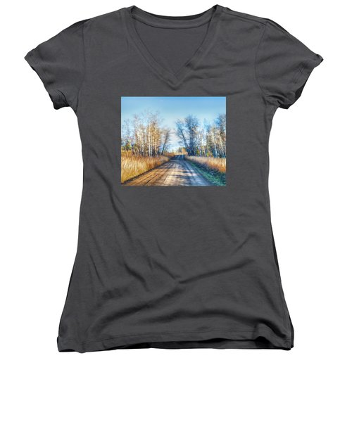 Women's V-Neck T-Shirt (Junior Cut) featuring the photograph Goose Lake Road by Theresa Tahara