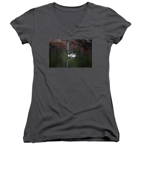 Goose On A Pond Women's V-Neck T-Shirt (Junior Cut) by Jeff Severson