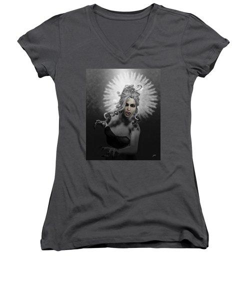 Gorgon Women's V-Neck T-Shirt (Junior Cut) by Joaquin Abella