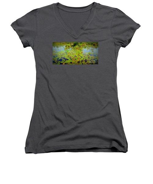 Gorham Pond Lily Pads Women's V-Neck T-Shirt (Junior Cut) by Susan Lafleur