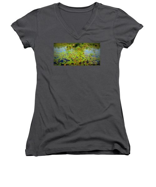 Gorham Pond Lily Pads Women's V-Neck (Athletic Fit)