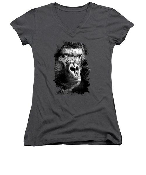 Gorilla T-shirt Women's V-Neck (Athletic Fit)