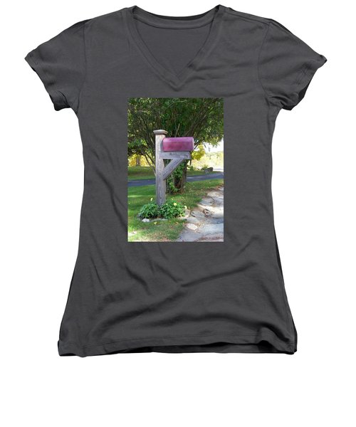 Women's V-Neck T-Shirt (Junior Cut) featuring the digital art Got Mail by Barbara S Nickerson