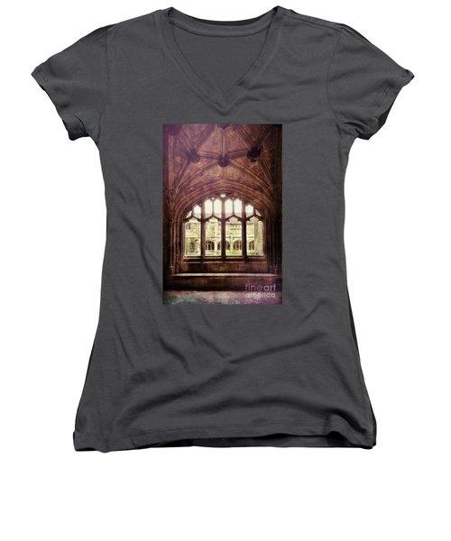 Gothic Window Women's V-Neck T-Shirt (Junior Cut) by Jill Battaglia