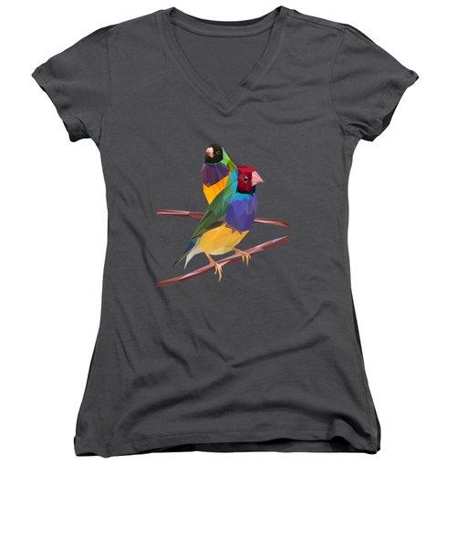 Gouldian Finch Duo Women's V-Neck T-Shirt
