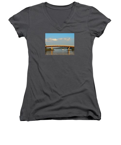 Women's V-Neck T-Shirt (Junior Cut) featuring the photograph Governor's Island Bridge by Mim White