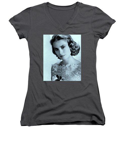 Grace Kelly Women's V-Neck T-Shirt (Junior Cut) by Lulu Escudero