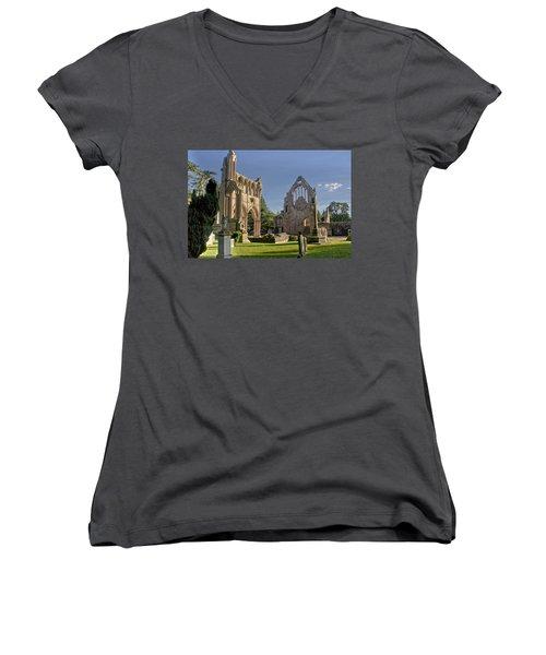 Graceful Ruins. Dryburgh Abbey. Women's V-Neck