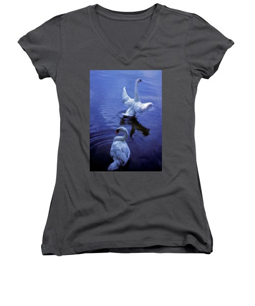 Women's V-Neck T-Shirt (Junior Cut) featuring the photograph Graceful Swans by Marie Hicks