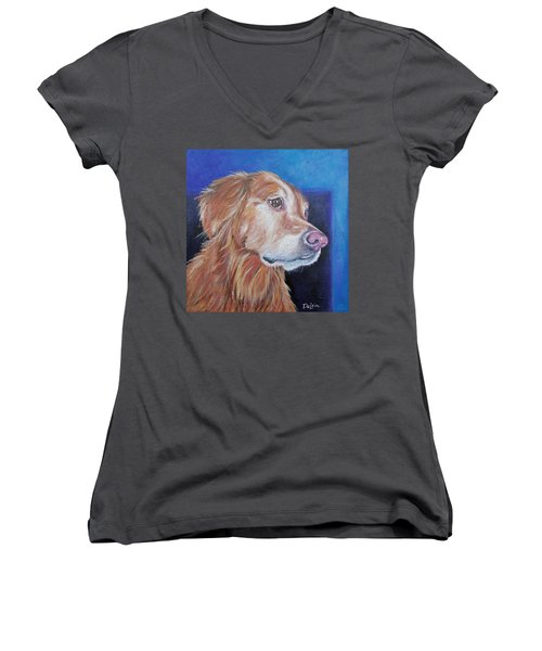 Women's V-Neck T-Shirt (Junior Cut) featuring the painting Gracie by Susan DeLain