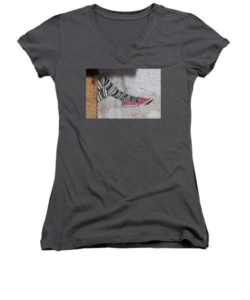 Women's V-Neck T-Shirt (Junior Cut) featuring the photograph Graffiti by Lynn England