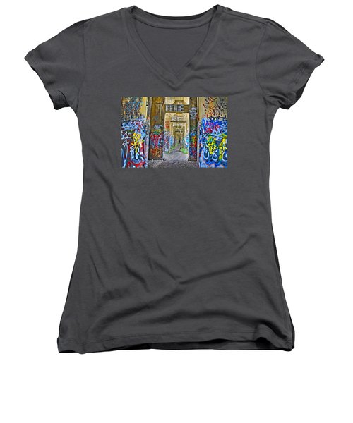 Grafiti Bridge To Nowhere Women's V-Neck T-Shirt (Junior Cut) by Alice Gipson