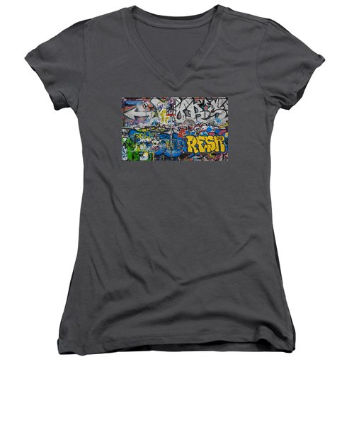 Grafitti On The U2 Wall, Windmill Lane Women's V-Neck T-Shirt (Junior Cut) by Panoramic Images