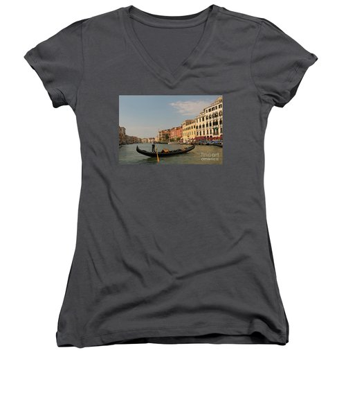 Grand Canal Gondola Women's V-Neck T-Shirt (Junior Cut) by Loriannah Hespe
