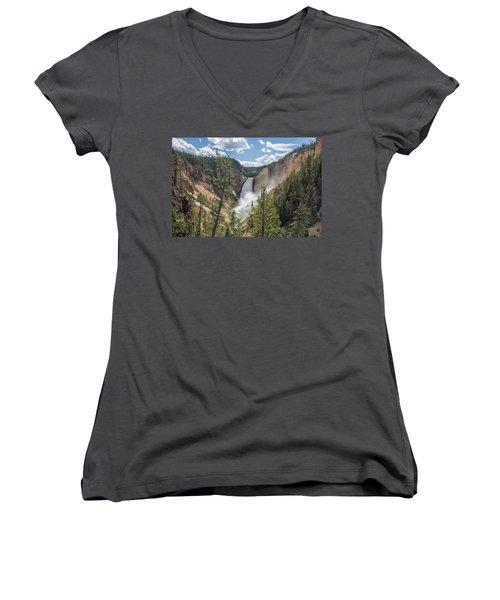 Grand Canyon Of Yellowstone Women's V-Neck T-Shirt (Junior Cut) by Alpha Wanderlust