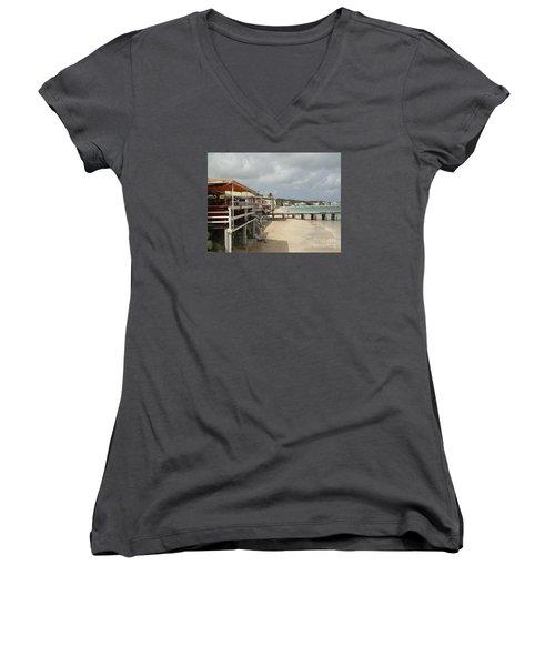 Grand Case Pier Women's V-Neck T-Shirt (Junior Cut) by Margaret Brooks