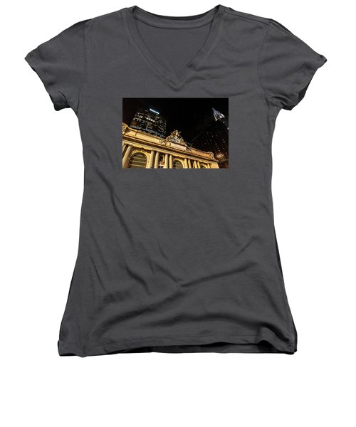 Grand Central Nocturne Women's V-Neck T-Shirt (Junior Cut) by Steven Richman