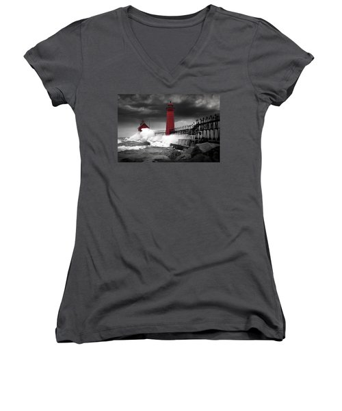 Grand Haven Lighthouse In A Rain Storm Women's V-Neck (Athletic Fit)